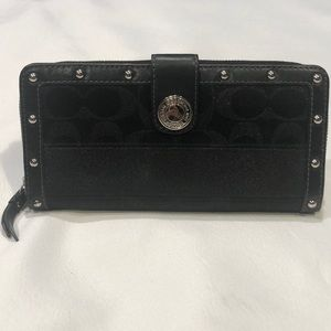 COACH Black Accordion Zip Wallet